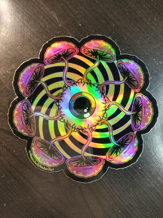 Holographic Trippy Mushroom Eyeball  Sticker