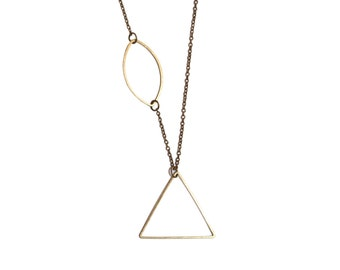 Oval Triangle Lariat Necklace, Brass Geometric Shapes Y Necklace, Everyday Modern Minimal Pendant, Perfect for Layering Everyday wear