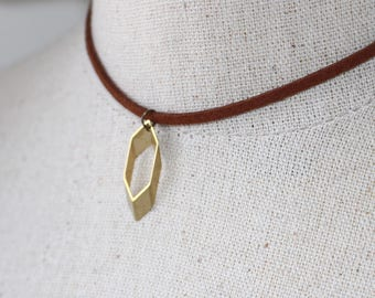 Rhombus 3d Choker, Adjustable Suede Geometric Chocker Necklace, Bronze Brass with Mahogany Leather or Silver with Black Leather