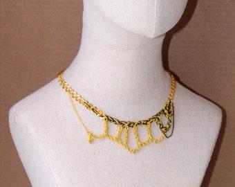 Golden Black Woven Choker, Adjustable Bib Necklace Chocker, Hand-crocheted Draped Pendant, Gold Chain unique piece, Gunmetal Chain