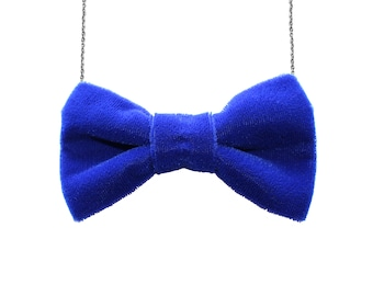 00f8c6e06698 Blue Velvet Large Bow Tie Necklace - Royal Women BowTie Accessory for Her  Girls Gift Bridesmaids Favor Party Event Casual Costume