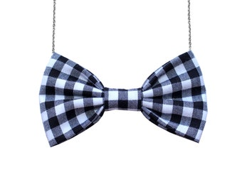 ea87d3620a78 Navy Blue White Gingham Large Bow Tie Necklace - Women BowTie Accessory for  Her Girls Gift Bridesmaids Favor Party Event Casual