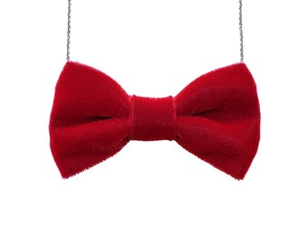 07abb4fe82eb Red Velvet Large Bow Tie Necklace - Women BowTie Accessory for Her Girls  Gift Bridesmaids Favor Party Event Casual Costume