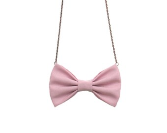 Pale Pink - Bow Tie Necklace, Casual Women Bowtie