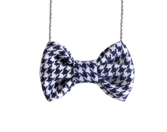Navy Houndstooth Bow Tie Necklace Hounds tooth Bowtie
