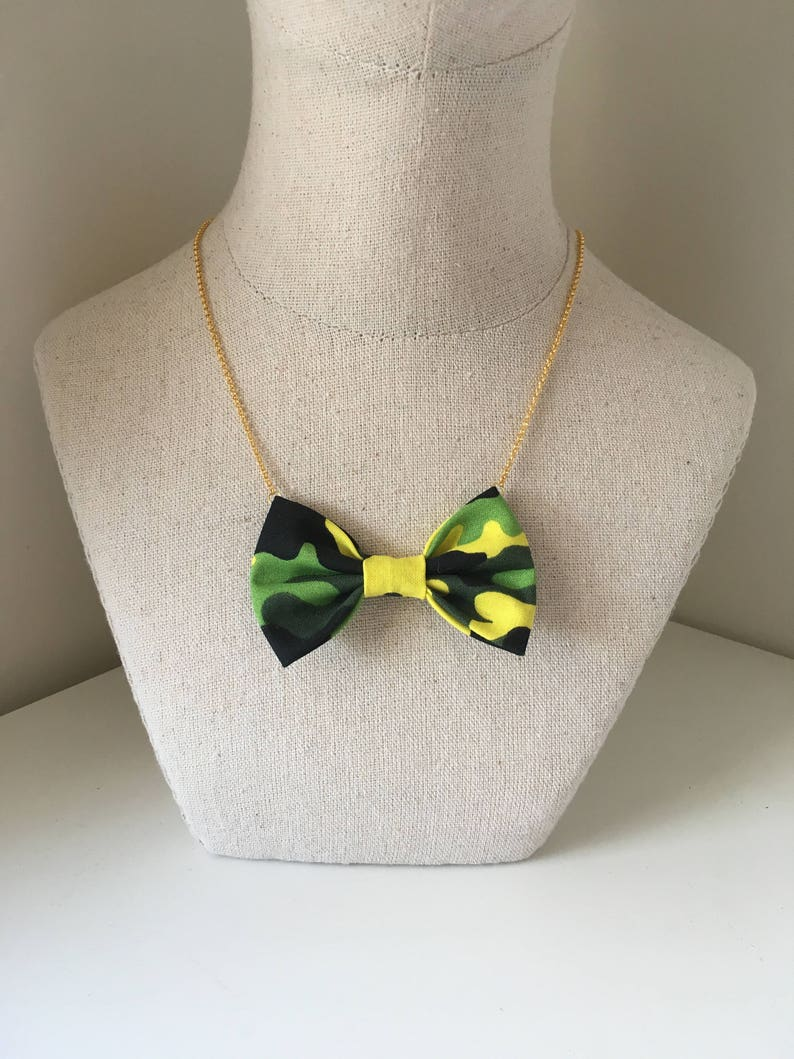 0aa2b8a1d520 Limegreen Camo Bow Tie Necklace Women Bowtie Accessory | Etsy