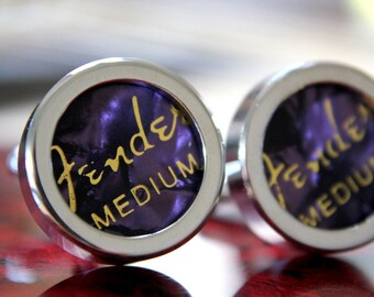 Purple Guitar Pick Custom Cuff Links Medium - Multiple Colors Now Available