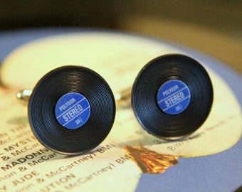 Vinyl Record Cuff Links Blue