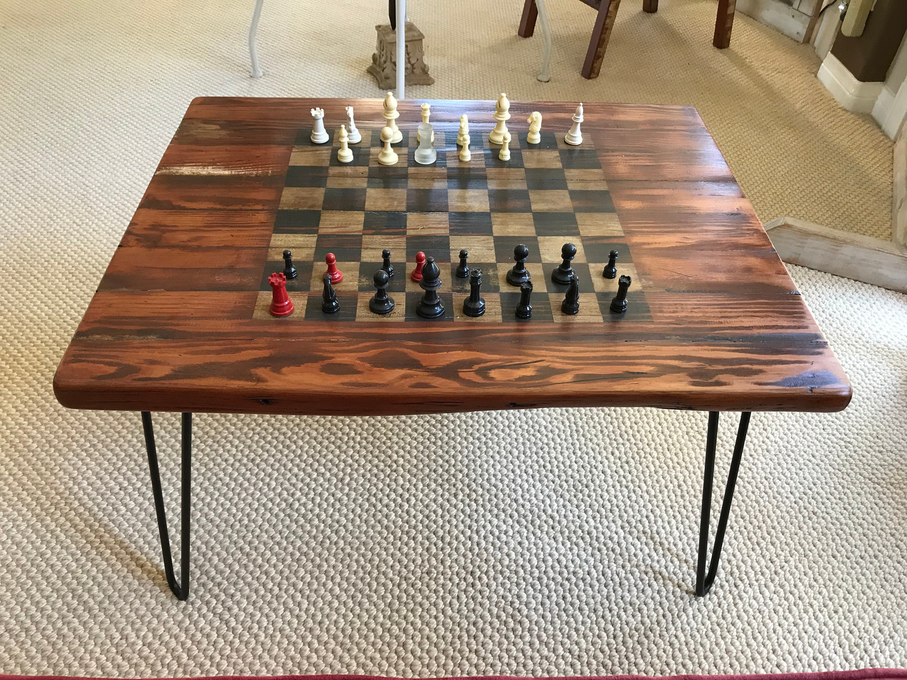 Gaming Coffee Table.Gaming Coffee Table W Retro Hairpin Legs Handcrafted