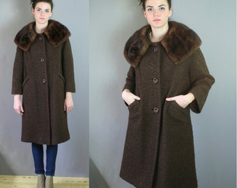 Vintage 1950s Long Brown Wool and Mink Collar Coat