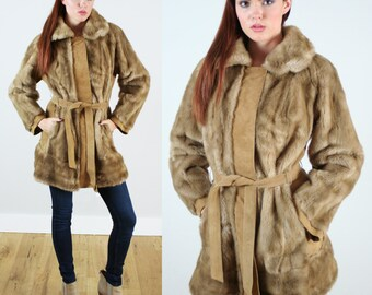 Vintage 1960s Faux Fur Belted Coat with Suede Trim