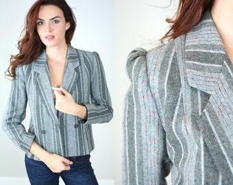 Vintage 1980s Gray Stripe Blazer