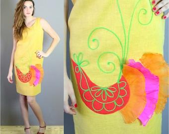 1960s Mod Yellow Applique Shift Dress