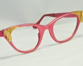 RESERVED for Benjamin - TURA Cat Eye Glasses, NOS, Rosey Red with Gold Corner Accents, 1950s, 1960s