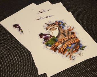 Khajiit's Ruin / Art Print / Skyrim / Skooma / Cat / Tattoo / Khajiit / Elder Scrolls / Video Game / Bethesda / Tabby / Illustration