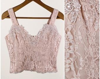 70s Pink Lace Crop Top Tank  • Lorrie Kabala • S-M