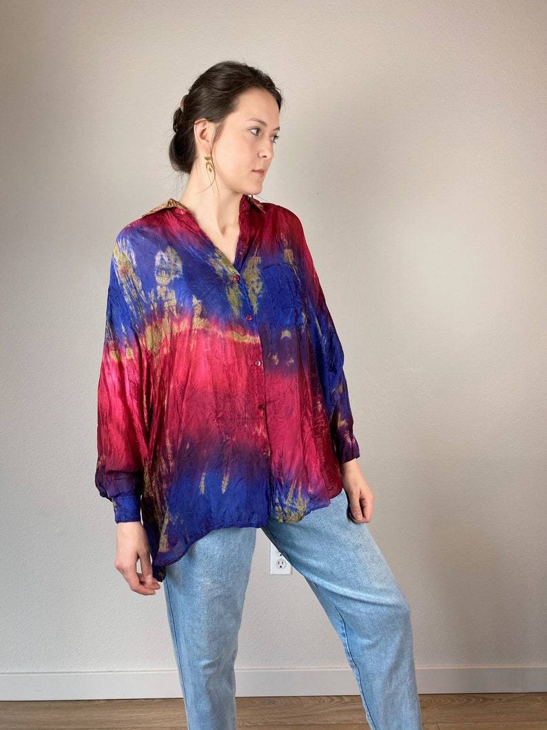 Flowy Vintage Oversized Tie Dye Sheer Blouse  BOOM  one size fits all