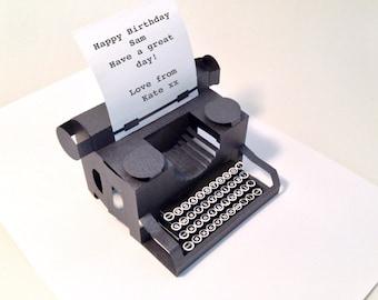 personalised typewriter popup  card with keys