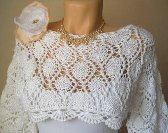 Women PULLOVER Ready To Ship Sweater Wedding Bridal Accessories Cape Hand Knitted Shrug Bolero Crochet Elegant Jacket Cardigan Capelet Chic