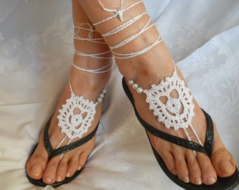 Crochet Barefoot Sandals Ready To Ship Women Summer Sandles Shoes Beads Anklet Foot Accessories Bridal White Cotton Beach Wear Victorian