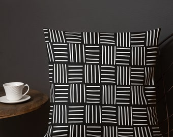 Pillow Black White, Hand Drawn, Geometric Design Pillow, Basket Weave Pattern, Contrast Back, Throw Pillow, Custom Design Fabric