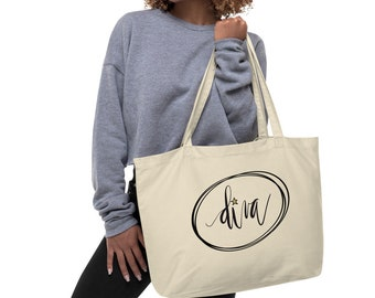 Diva Tote Bag, Hand Lettered, Modern Calligraphy, Gold Star, Ovals, Organic Cotton, Large organic tote bag