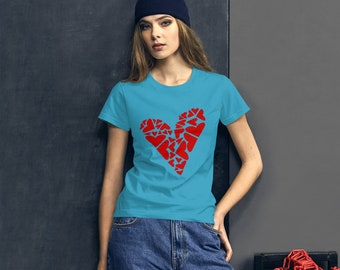 Love T-Shirt Heart Puzzle with Big and Small Asymmetrical Red Hearts--Women's short sleeve t-shirt, Heart Design Tee. Red Hearts Printed Tee
