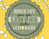 Items Similar To Mixed Media Illustration Print Lemonade