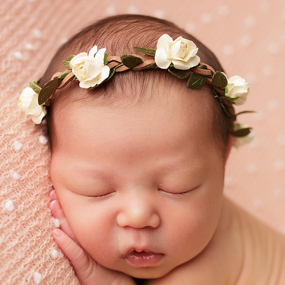 Ivory Flower Crown Baby Photo Prop Baby Girl Headband Halo