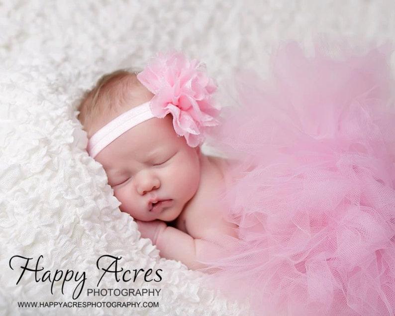 PINK TUTU baby tutu newborn tutu and  headband newborn image 1
