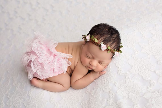 Lavender Bloomer Set Newborn Photo Prop Baby Headband MANY COLORS Baby Girl Prop Bloomer and Headband Lace Bloomers