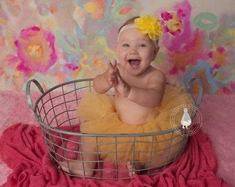 YELLOW newborn tutu, baby tutu, tutu and headband, newborn photography prop, birthday tutu