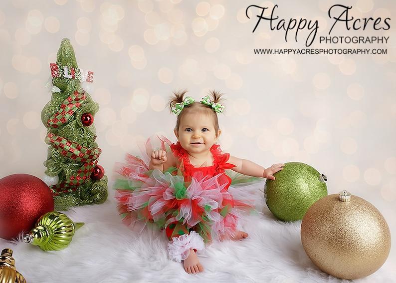 Newborn tutu CHRISTMAS CUTIE Tutu White Tutu....sizes newborn through 2T....tutu only newborn photography prop Red Green