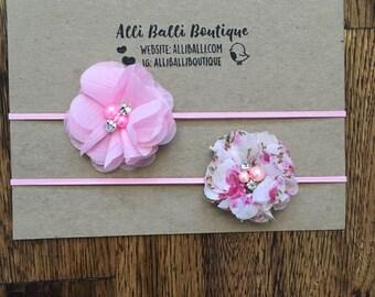 Set Of 2 Pink Baby Headbands, Newborn Headband, Baby Girl Headband, Newborn Photo Prop, Headbands
