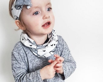 Bunny snood scarf - baby scarf - dribble catcher - baby fashion - baby accessories - rabbit - organic baby - girls snood - baby snood