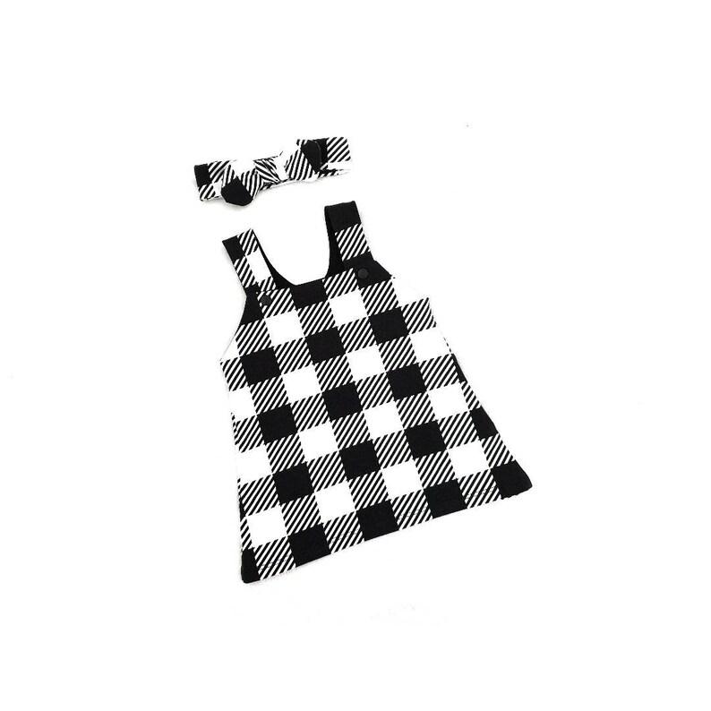 monochrome kids girls dress baby girl dress Plaid pinafore dress dungaree dress organic baby clothes baby dress