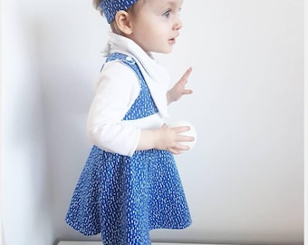 Blue dash swing dress - baby dress - baby girl clothing - organic baby clothes - baby outfit - baby party dress - girls dress - summer baby