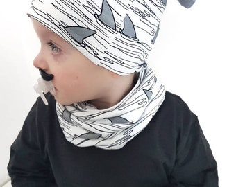 Shark snood scarf - baby scarf - dribble catcher - baby fashion - baby accessories - sharks - organic baby - boys snood - baby snood