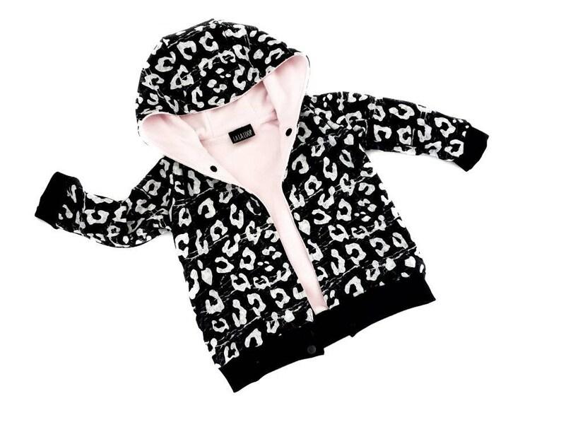 cc58ba1c24f7 Leopard print hooded bomber jacket baby clothes kids coat   Etsy