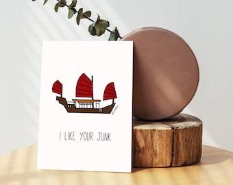 Hong Kong Red Sail Junk Greeting Card - Blank Card