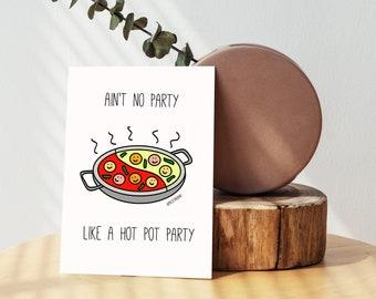 Hong Kong Hot Pot Party Birthday Card. Hong Kong Funny Greeting cards and Happy Birthday cards.