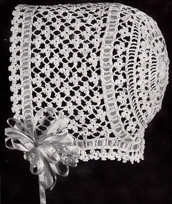 Vintage Crochet Baby Bonnet/Hat Patterns Daisy Stitch Christening ...