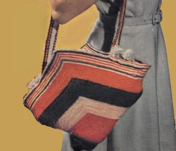 Vintage Crochet Instruction Book 1950 Hangers Dolls Tiebacks Handbag