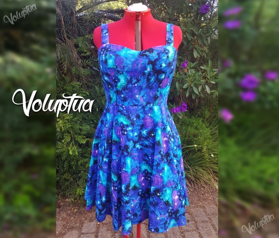 Galaxy Plus Size Rockabilly Dresses | Pin Up Shirred Back Swing Dress |  Outer Space Stars Blue Purple Aqua Galaxy Dress | Plus size 16 or 20