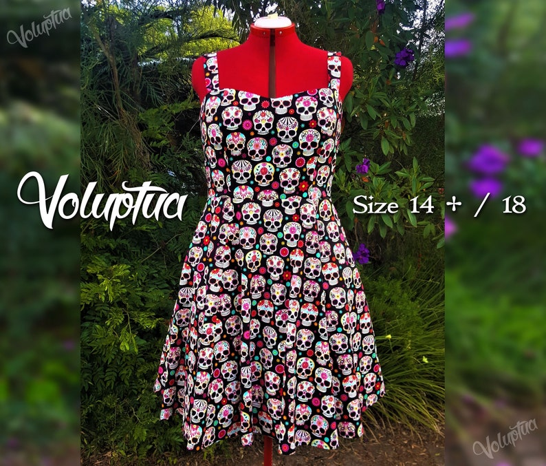 Halloween Sugar Skull Dress Size 14+ /18 | Day of the Dead Dress | Plus  Size Rockabilly Dresses | Vintage Pin Up 50s Plus Size Shirred Dress