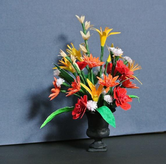 Miniature paper flower arrangement in an urn handmade etsy image 0 mightylinksfo