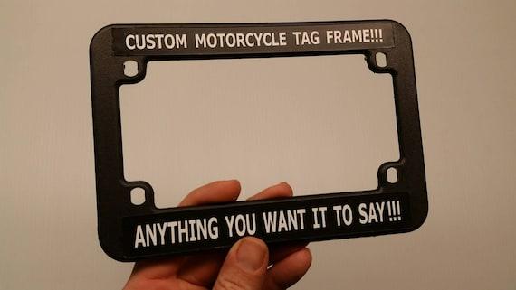 2 motorcycle license plate frames custom tag holder fits | etsy
