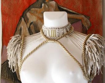 Macrame festival epaulets, Burning man Coachella festival party shoulder piece, rope shoulder harness,  Epaulets festival Set