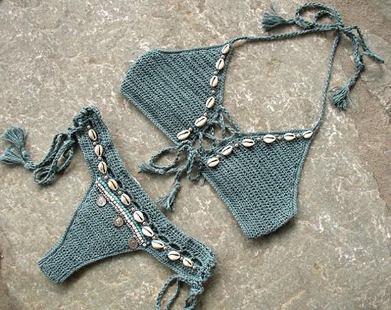 Costume Da Bagno Conchiglia : Crochet bikini insieme a menta ecrù e blu costume da bagno etsy