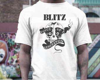 the Blitz T shirt screen print short sleeve     shirt cotton